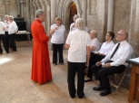 Relaxing over tea with Cathedral staff