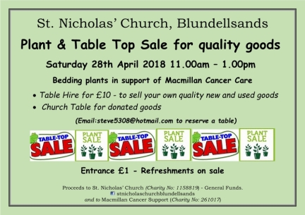 2018 - Poster Plant Sale & Table Top Sale - quality goods